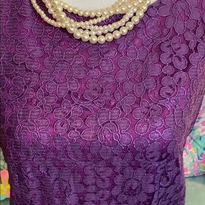 NWT Bisou Bisou purple lacy shimmer top